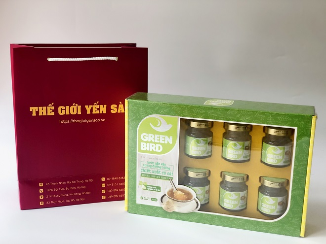 Hộp quà Tết Nước yến Green Bird chưng đường ăn kiêng - 6 hũ 75gr
