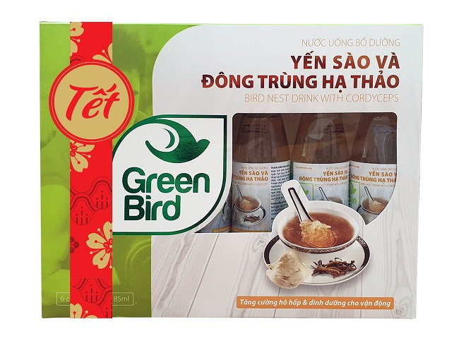 Hộp quà Tết Nutrinest Green Bird - Nước Yến Sào Và Đông Trùng Hạ Thảo – 6 chai*185ml