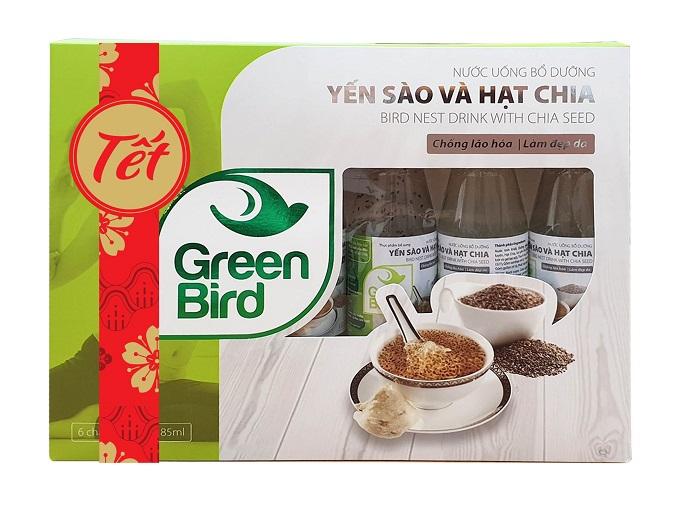 Hộp quà Tết Nutrinest Green Bird - Nước Yến Sào Và Hạt Chia – 6 chai*185ml